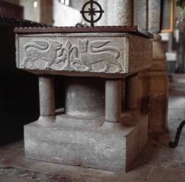 Norman font, All Saints Church, Holbeton
