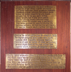 St Bartholomew Elizabethan brass inscriptions